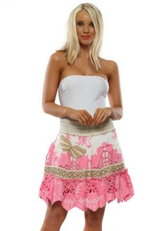 b280dced51db LAURIE & JOE Pink Floral Embroidered Butterfly Mini Skirt