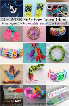 40 Rainbow Loom Ideas - Bracelets, Charms, Storage, and more! Rainbow Loom Tutorials, Rainbow Loom Patterns, Rainbow Loom Creations, Rainbow Loom Bands, Rainbow Loom Charms, Rainbow Loom Bracelets, Loom Love, Fun Loom, Rubber Band Crafts