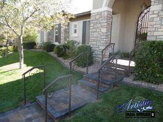 Exterior wrought iron stair railings Wrought Iron Stair Railing, Hand Railing, Iron Railings, Nature, Exterior, Patio, Driveways, Outdoor Decor, Design