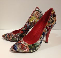 SpiderMan high heels by JoelyYoungDesign on Etsy, $40.00