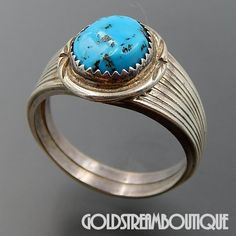 NATIVE AMERICAN VINTAGE NAVAJO STERLING SILVER KINGMAN TURQUOISE MEN'S RING SIZE 13.5