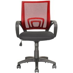 CorLiving - Workspace 5-Pointed Star Mesh Linen Fabric Chair - Black/Red