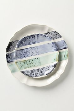 Love that this was inspired by the castoff glaze tester plates that Anthropologie buyers saw while in a factory in Spain.  They actually had to convince the company to let them see the tester plates and I think they are gorgeous.
