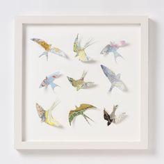 9 vintage map birds, £240, Bombus
