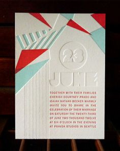 Graphic Invitation featured on Martha Stewart Weddings.