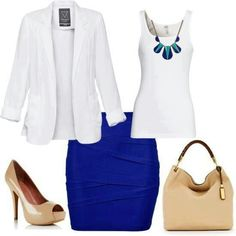 White top combined with cobalt skirt and tan shoes