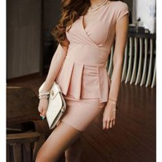 Enchanting Deep V-Neck Pleated Cap Sleeve Club Dress For Women