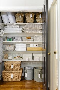 A linen closet or cabinet, shown here, is commonly used as a catchall for bath essentials, towels, b Linen Closet Organization, Laundry Room Storage, Closet Storage, Organization Hacks, Storage Spaces, Bathroom Organization, Linen Storage, Organized Linen Closets, Organizing Ideas