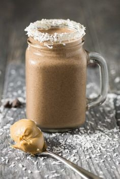 Peanut Butter Cocoa Coconut Smoothie – a better for you breakfast smoothie with creamy peanut butter, coconut flakes, cocoa powder, banana and yogurt.