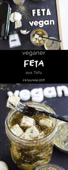 Make vegan feta from tofu yourself - Ms. Janik - vegan feta made from tofu itself spicy, quick & super delicious … This vegan feta is super tasty - Vegetarian Appetizers, Vegan Snacks, Vegan Vegetarian, Vegan Recipes, Vegetarian Lifestyle, Tasty, Yummy Food, Good Food, Dessert Blog