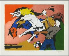 """Maqbool Fida Husain (1915 – 2011) has been widely regarded as the """"Picasso of India"""" who has influenced a whole generation of artists in India. Husain was mainly a self-taught artist who started by painting cinema hoardings in Mumbai. Husain first became well known as an artist in the late 1940s."""