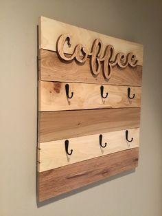 Coffee Signs, Wooden Cutouts, Farmhouse Decor, Keyhole Hanger, Coffee Cup Rack, Mug Rack, Mugs, Rack, Coffee Cups