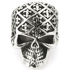 "EnM Jewelry Men's Stainless Steel Ring Skull Fleur de lis Comfort Retro Silver/Black Biker, 1.25"" Wide 10"
