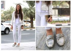 Fashion and Beauty Assistant Alexandra heads out in a head-to-toe white ensemble.