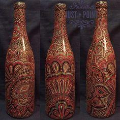 Wall   VK Mosaic Bottles, Painted Glass Bottles, Glass Bottle Crafts, Bottle Art, Altered Bottles, Antique Bottles, Dot Art Painting, Bottle Painting, Glass Art