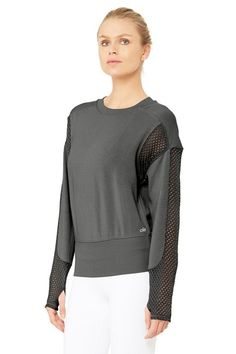 b8ccd0be1b3 Alo Anthracite Formation Activewear Top Size 12 (L