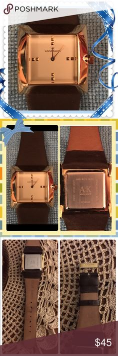 Beautiful ANNE KLEIN Ladies Watch Worn Twice Totally forgot I had this watch, wore it twice out to dinner, very nice looking on. I got it out of my jewelry box & almost cried seeing tarnish on the top (see B4 & after in pic 4) my husband cleaned it & it's barely noticeable 🙌🏻🙌🏻 needs a new battery so knocking that off the price. The knob is square & has AK on it & buckle reads Stainless Steel China. Pd $123.05 at Macy's, letting it go for a great price. I have 1 watch I wear out of about…