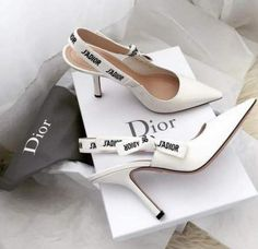 Dior Jadior patent leather heels - Dior Shoes - Ideas of Dior Shoes - Dior white heels ivory shoes fashion trend 2019 trends j'adior patent leather off-white slingback pump with ribbon designer item items luxury shop shopping shoe lover addict Cute Shoes, Women's Shoes, Strappy Shoes, White High Heel Sandals, Shoes Sneakers, Dance Shoes, Ivory Shoes, Designer High Heels, Designer Wedding Shoes