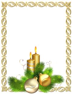 Large Transparent Gold Christmas Photo Frame with Candles and Christmas Balls