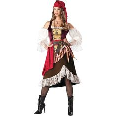 Deckhand Darlin Adult Womens Gypsy Pirate Wench Halloween Costume Std Plus Size | eBay