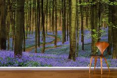 Lovely forest scene with pops of lilac make this is a truly stunning wall mural.