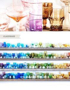 Colorful glassware collection.  Whatever your mood or the occasion, you will always be able to find the right glasses in a collection like this!