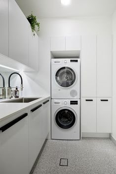 The Block reveals hallway, laundry & powder room - The Interiors Addict Laundry Decor, Laundry Room Organization, Laundry Room Design, Laundry In Bathroom, Laundry Closet, Bathroom Faucets, Modern Laundry Rooms, Farmhouse Laundry Room, Laundry Powder