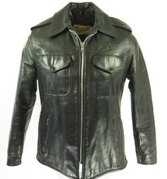 Vintage 80s Schott Police Motorcycle Jacket Mens 42 Biker Leather Perfecto [H64A_5-3_Leather]