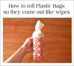 Make a container full of plastic bags that pull out like baby wipes for car, RV, Camper or home TUTORIAL