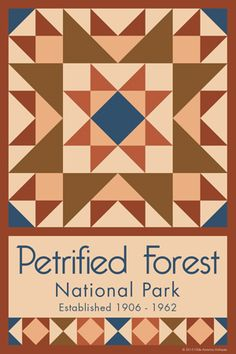 Petrified Forest National Park Quilt Block designed by Susan Davis. Susan is the owner of Olde America Antiques and American Quilt Blocks She has created unique quilt block designs to celebrate the National Park Service Centennial in 2016. These are the first quilt blocks designed specifically for America's national parks and are new to the quilting hobby.