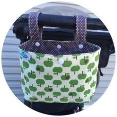 Small pram caddy / pram organiser / stroller bag by schwuppdiwupp on Etsy https://www.etsy.com/listing/240406158/small-pram-caddy-pram-organiser-stroller