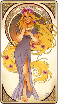 Rapunzel, Tangled | These Mucha Inspired Disney Princesses Are Stunning