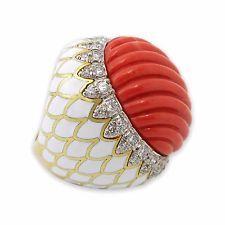 David Webb autêntico 18K Gold Platinum Esculpida Coral Esmalte Anel De Diamante tamanho 7.75
