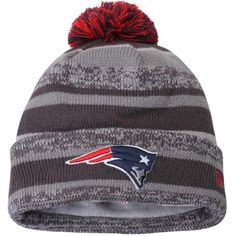 Mens New England Patriots New Era Gray Team Sport Knit Cuffed Hat 08f3ea4dd449