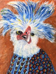 Chicken With Attitude! Acrylic On Canvas Whimsical Portrait Painting  www.berggrenfibers.com