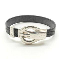 Bracelet cuir gravé gris et boucle ceinture - r432
