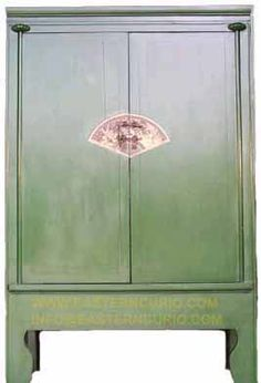 A2S0010 GREEN ANTIQUE CHINESE CABINET $550