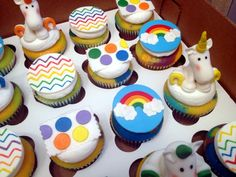 Rainbows and Unicorns and Chevron oh my! cupcakes by dusty