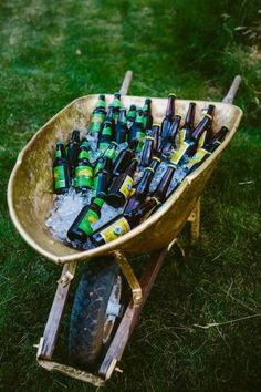 Rustic wedding ideas - old wheelbarrow + ice + beer or other bottled beverages