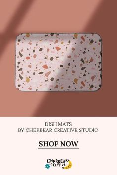 Pink Terrazzo Dish Mat by Cherbear Creative Studio Design Textile, Fabric Design, Pattern Design, Sustainable Living, Sustainable Fashion, Bandana Bow, Eco Friendly House, Etsy Business, Marketing