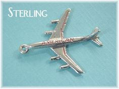American Airlines Airplane - Rare Sterling Silver Air Travel Enamel Charm Pendant - For Charm Bracelet - Estate Antique - FREE SHIPPING by FindMeTreasures on Etsy https://www.etsy.com/listing/384922246/american-airlines-airplane-rare-sterling