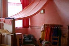 I love the fabric draped over the area. So cozy!
