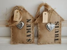 Love.....These Burlap Houses and Hearts