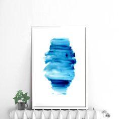 Blue wall art blue wall decor Blue and white  Dark by DYAStudio