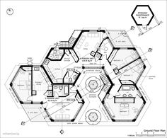 hexagon homes logical save space interlocking floor plan hexagon house contemporary home shipping The Plan, How To Plan, Cob House Plans, House Floor Plans, Library Floor Plan, Hotel Floor Plan, Bungalow Haus Design, House Design, Casa Octagonal