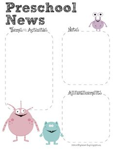 Monster Theme Preschool Newsletter Template