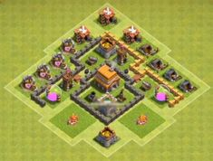 Best Town Hall 4 War, Farming and Hybrid Bases Anti Giants These base designs can defend giants archer and barbarians with ease. Town Hall 4, Clash Of Clans, Archer, Farming, Base, Design, Sterling Archer