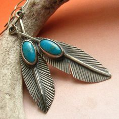 Turquoise Sterling Silver Feather Earrings   Large   by Mocahete