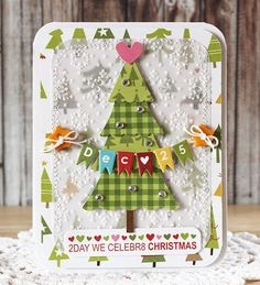 Love this card! Supplies: Christmas Countdown: O Tannenbaum, Tree Park, Christmas Countdown, Captions, Alpha+Bits; Mary Christmas, Christmas Card Crafts, Christmas Countdown, Xmas Cards, All Things Christmas, Holiday Cards, Christmas Trees, Scrapbook Cards, Scrapbooking