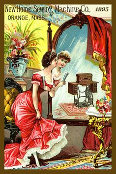 Woman Looking in Mirror - 1895 Trade Card. Quilt Block printed on cotton. Ready to sew.  Single 4x6 block $4.95. Set of 4 blocks with free wall hanging pattern $17.95
